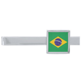Brazil flag Brazilian Silver Finish Tie Bar