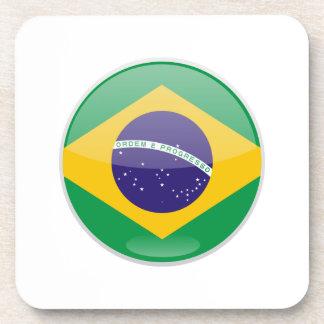 Brazil Flag Button Drink Coaster