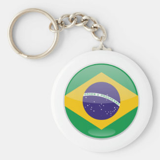 Brazil Flag Button Keychain
