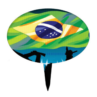 Brazil flag cake toppers