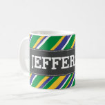 [ Thumbnail: Brazil Flag Color Inspired Stripes Pattern + Name Coffee Mug ]