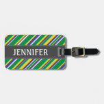 [ Thumbnail: Brazil Flag Color Inspired Stripes Pattern + Name Luggage Tag ]