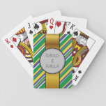 [ Thumbnail: Brazil Flag Color Inspired Stripes Pattern + Names Playing Cards ]