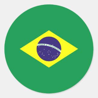 Brazil Flag Design Classic Round Sticker