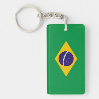 Brazil Flag Double-Sided Rectangular Acrylic Keychain