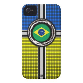 Brazil Flag Emboss Blue Yellow iPhone 4 Case