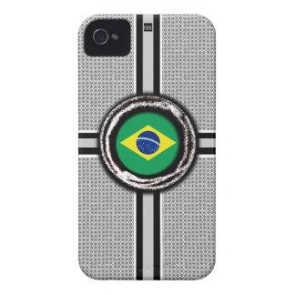 Brazil Flag Emboss White iPhone 4 ID Case