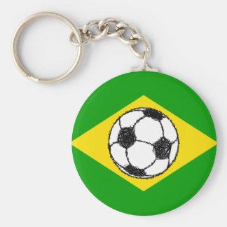 Brazil Flag   Football Sketch Basic Round Button Keychain