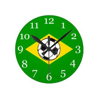 Brazil Flag | Football Sketch Wall Clocks