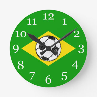 Brazil Flag | Football Sketch Round Clock