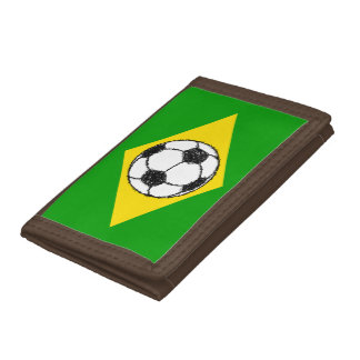 Brazil Flag | Football Sketch Tri-fold Wallets
