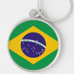 Brazil flag for Brazillian fashion Silver-Colored Round Keychain