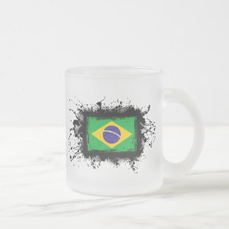 Brazil Flag Frosted Glass Coffee Mug