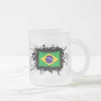 Brazil Flag Frosted Glass Coffee Mug