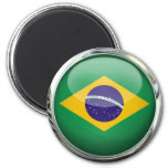 Brazil Flag Glass Ball 2 Inch Round Magnet