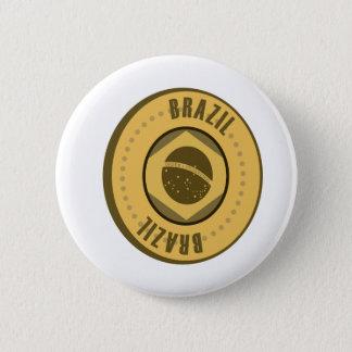 Brazil Flag Gold Coin Button