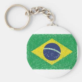 Brazil Flag *Hand-sketch* Brazilian Basic Round Button Keychain