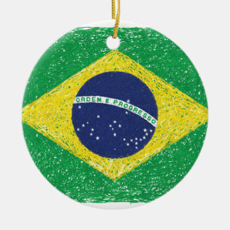 Brazil Flag *Hand-sketch* Brazilian Ceramic Ornament