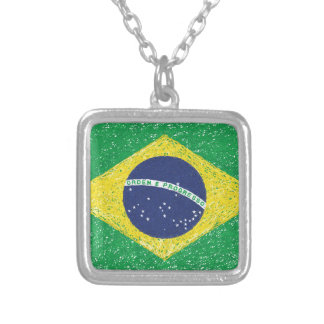 Brazil Flag *Hand-sketch* Brazilian Silver Plated Necklace