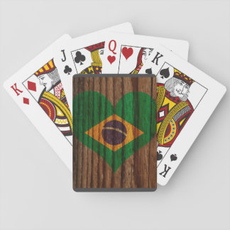 Brazil Flag Heart on Wood theme Playing Cards