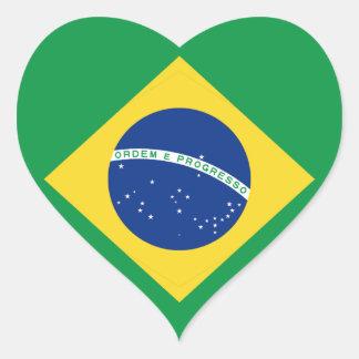 Brazil Flag Heart Sticker