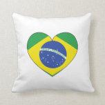 Brazil Flag Heart Throw Pillow