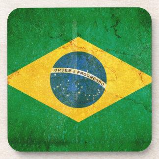 Brazil Flag in Grunge Coaster