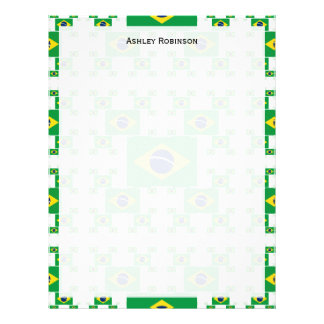 Brazil Flag in Multiple Colorful Layers 2 Letterhead Template