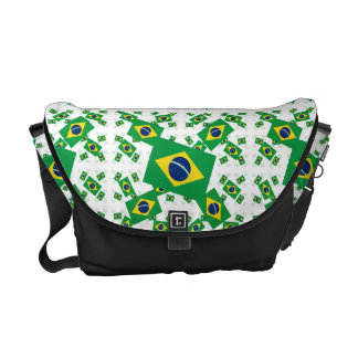 Brazil Flag in Multiple Colorful Layers Askew Courier Bag