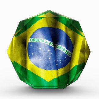 Brazil Flag Large Acrylic Octagon Award