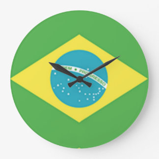 Brazil Flag Large Clock