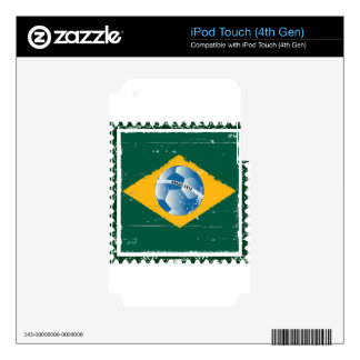 Brazil flag like stamp in grunge style skin for iPod touch 4G
