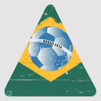 Brazil flag like stamp in grunge style triangle sticker