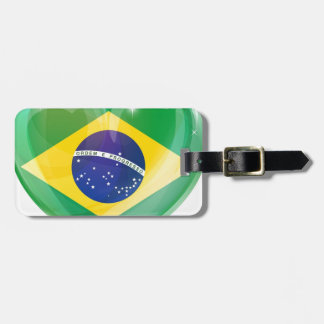 Brazil flag love heart bag tags