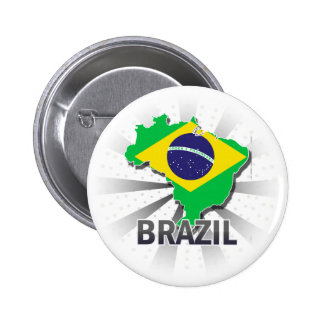 Brazil Flag Map 2.0 2 Inch Round Button