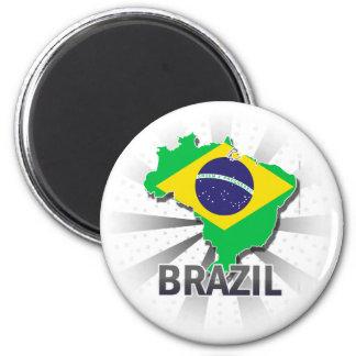Brazil Flag Map 2.0 Magnet