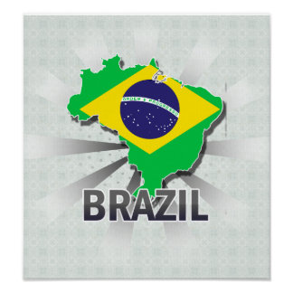 Brazil Flag Map 2.0 Poster