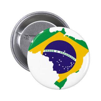 Brazil Flag Map 2 Inch Round Button