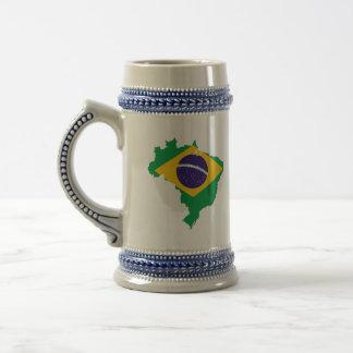 brazil flag map beer stein