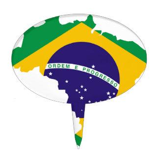 Brazil Flag Map Cake Topper