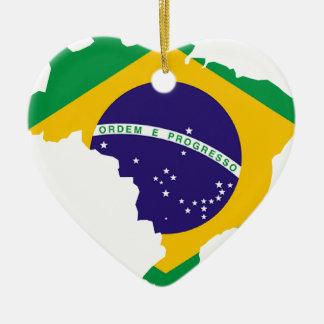 Brazil Flag Map Ceramic Ornament