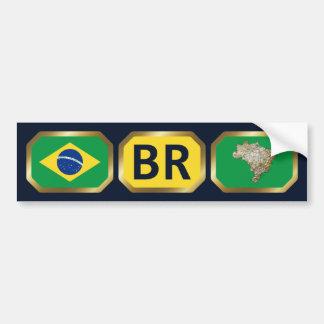 Brazil Flag Map Code Bumper Sticker Car Bumper Sticker