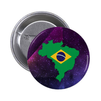 brazil Flag Map on abstract space background 2 Inch Round Button