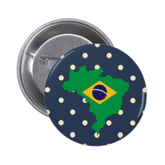 brazil Flag Map on Polka Dots 2 Inch Round Button