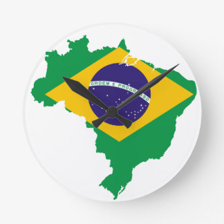 Brazil Flag Map Round Clock