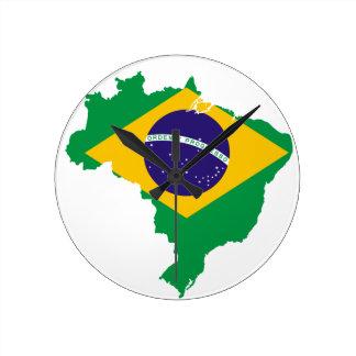 Brazil Flag Map Round Clock