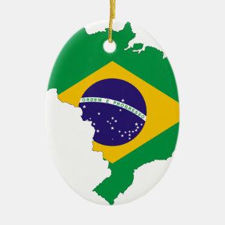 Brazil Flag Map Symbol Brazilian Country Ceramic Ornament