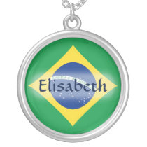 Brazil Flag   Name Necklace