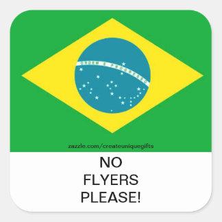 Brazil Flag No Flyers Please Mail Box Sticker