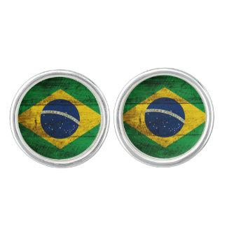 Brazil Flag on Old Wood Grain Cufflinks